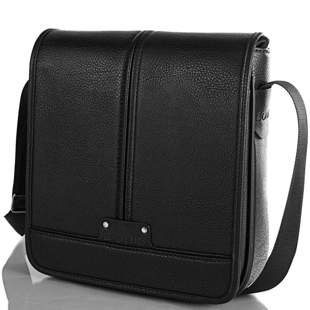 Мужская сумка-почтальонка из качественного кожезаменителя BONIS (БОНИС) SHIM8098-black Bonis