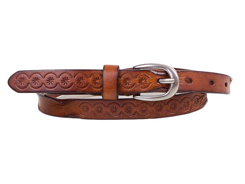 Женский узкий кожаный ремень ETERNO (ЭТЕРНО) E8026-brown Eterno