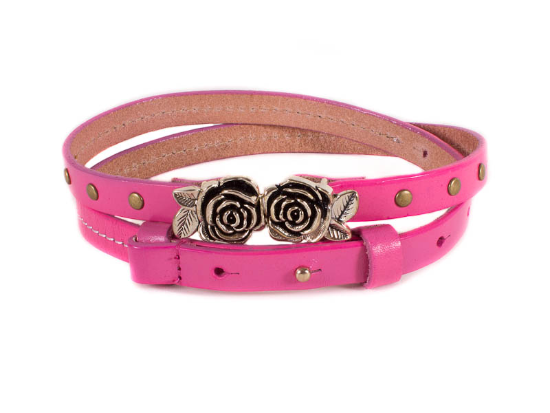 Женский узкий кожаный ремень ETERNO (ЭТЭРНО) E7040-pink Eterno