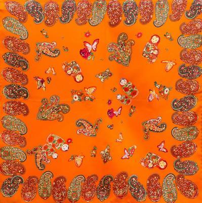 Лучший корпоративный подарок к праздникам шелковый платок шейный женский CODELLO (КОДЕЛЛО) C270097-orange Codello