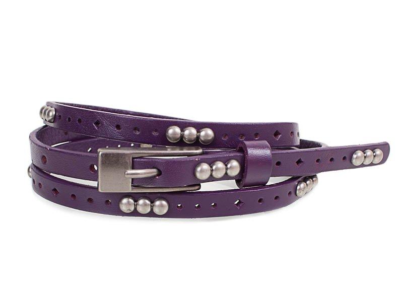 Женский узкий кожаный ремень ETERNO (ЭТЕРНО) E7093-violet Eterno