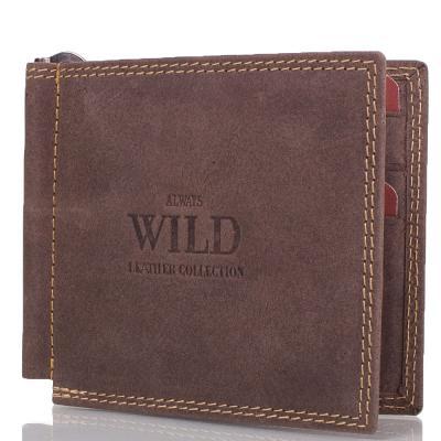 Зажим для купюр мужской кожаный ALWAYS WILD (ОЛВЕЙС ВАЙЛД) DNKC2-MH-brown Always Wild