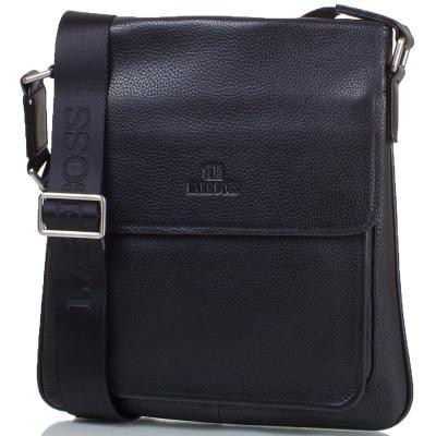 Мужская кожаная сумка-почтальонка LARE BOSS (ЛАРЕ БОСС) TU146-2-black Lare Boss